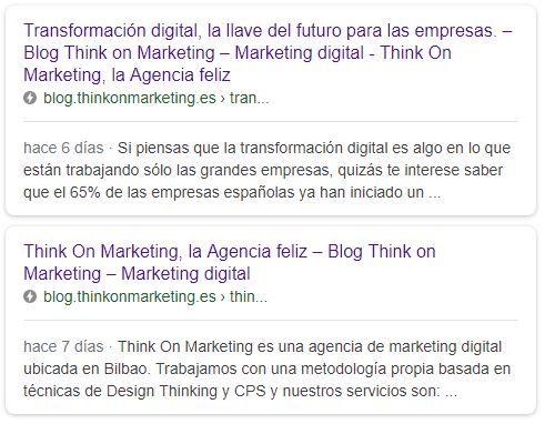 Resultados en Google de páginas AMP del blog de Think on marketing