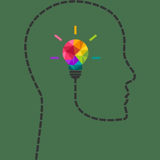 cabeza llena de colores para la psicología del color