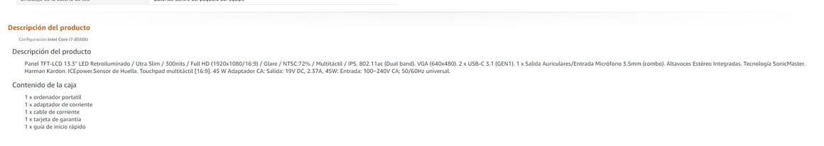 Ejemplo de la descripción de producto en Amazon