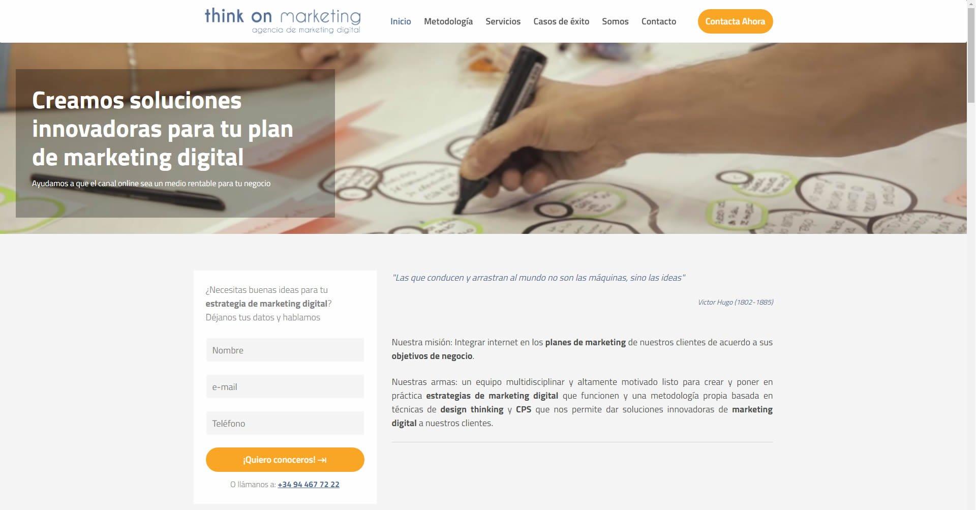 Landing orientada a la conversión de Think on marketing